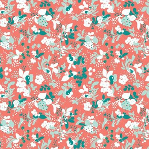 Floral - Coral with Teal, Mint, and White