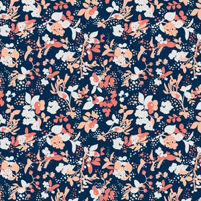 Floral - Navy with Coral, Blush, and White