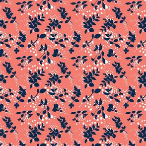 Leaves - Coral with Navy and White