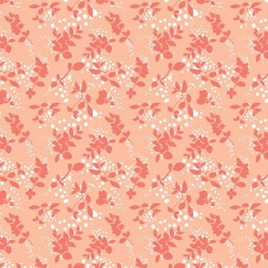 Leaves - Blush with Coral and White
