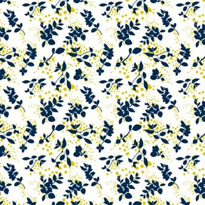 Leaves - White with Navy and Mustard