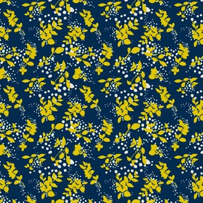 Leaves - Navy with Mustard and White