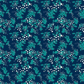 Leaves - Navy with Teal, White, and Gray
