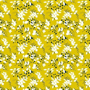 Leaves - Mustard with White and Navy
