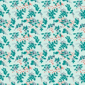 Leaves - Mint with Teal, Navy, and Coral