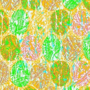 batik easter eggs on leafy greens