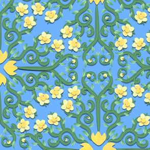 Yellow and Green Buttercup Flower on Blue Damask