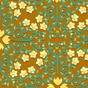Yellow and Green Buttercup Flower Damask on Brown
