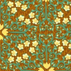 Yellow and Green Buttercup Damask Flowers on Textured Brown