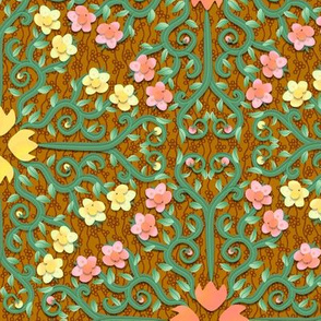 Pink and Yellow Buttercup Flower Damask on Textured Brown