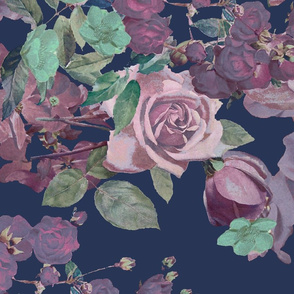 Antique Floral XL Print // Cool Colors