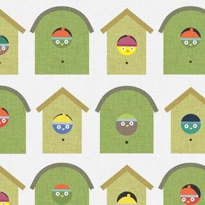 Green Bird in a Birdhouse P15a3