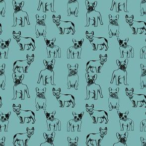 french bulldog fabric - dog fabric, pet fabric, dogs fabric, frenchie fabric, cute dog fabric, french bulldogs fabric - blue