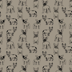 french bulldog fabric - dog fabric, pet fabric, dogs fabric, frenchie fabric, cute dog fabric, french bulldogs fabric - brown