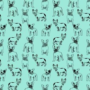 french bulldog fabric - dog fabric, pet fabric, dogs fabric, frenchie fabric, cute dog fabric, french bulldogs fabric - mint