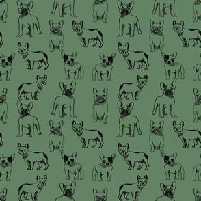 french bulldog fabric - dog fabric, pet fabric, dogs fabric, frenchie fabric, cute dog fabric, french bulldogs fabric - moss