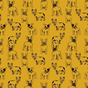 french bulldog fabric - dog fabric, pet fabric, dogs fabric, frenchie fabric, cute dog fabric, french bulldogs fabric - mustard