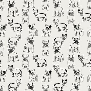 french bulldog fabric - dog fabric, pet fabric, dogs fabric, frenchie fabric, cute dog fabric, french bulldogs fabric - off-white