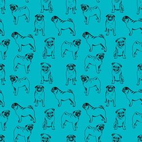 pug dog fabric - pugs, pug fabric, dog fabric, dogs fabric, cute pug dog  - aqua