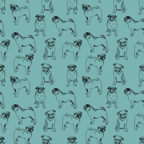 pug dog fabric - pugs, pug fabric, dog fabric, dogs fabric, cute pug dog  - blue