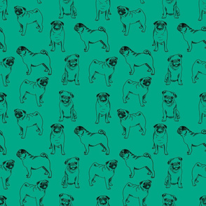 pug dog fabric - pugs, pug fabric, dog fabric, dogs fabric, cute pug dog  - jade