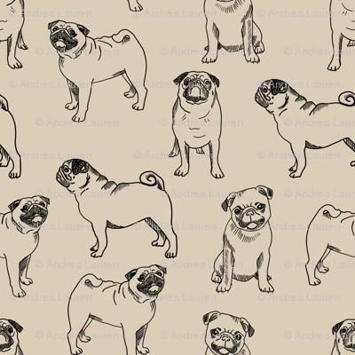 pug dog fabric - pugs, pug fabric, dog fabric, dogs fabric, cute pug dog  - tan