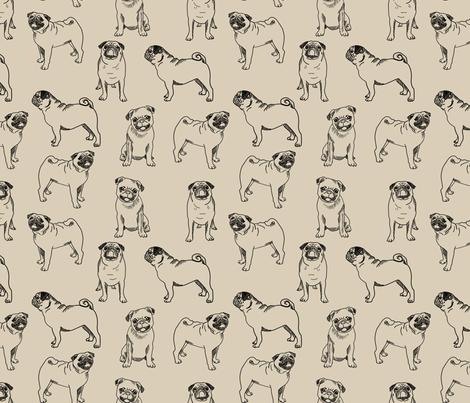 pug dog fabric - pugs, pug fabric, dog fabric, dogs fabric, cute pug dog  - tan fabric by andrea_lauren on Spoonflower - custom fabric