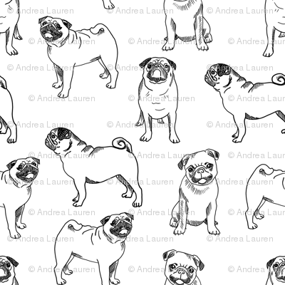 pug dog fabric - pugs, pug fabric, dog fabric, dogs fabric, cute pug dog  - black and white