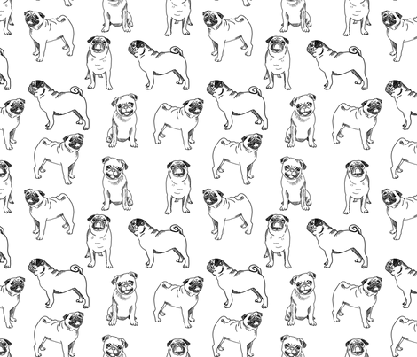pug dog fabric - pugs, pug fabric, dog fabric, dogs fabric, cute pug dog  - black and white fabric by andrea_lauren on Spoonflower - custom fabric