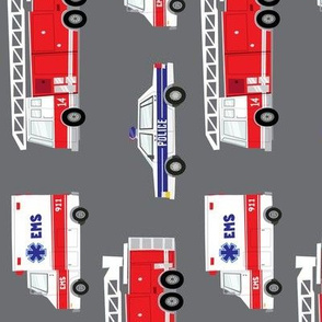 (large scale) first responders vehicles (grey)  (90) C19BS