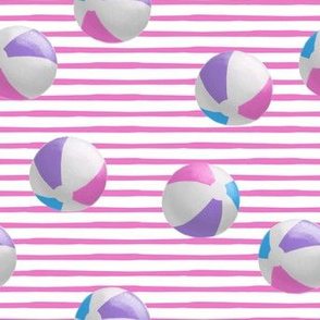 beach balls - pink on pink stripes - summer - LAD19