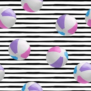 beach balls - pink on black stripes - summer - LAD19