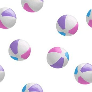 beach balls - pink on white - summer - LAD19