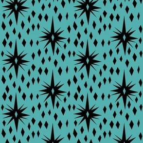 vintage star - tiffany blue, vintage inspired fabric