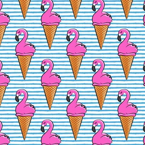 Flamingo ice-cream cones - blue stripes LAD19