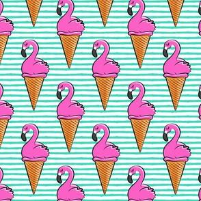Flamingo ice-cream cones - teal LAD19