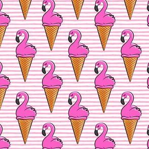 Flamingo ice-cream cones - pink stripes LAD19