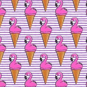 Flamingo ice-cream cones - purple stripes LAD19