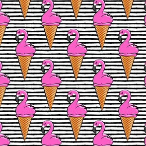 Flamingo ice-cream cones - black stripes LAD19
