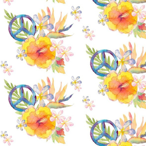 Summer Watercolor Floral Peace White