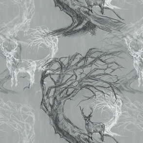 Stag Twisted Tree Sketch - Large Pattern