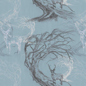 Stag Twisted Tree Sketch -Large