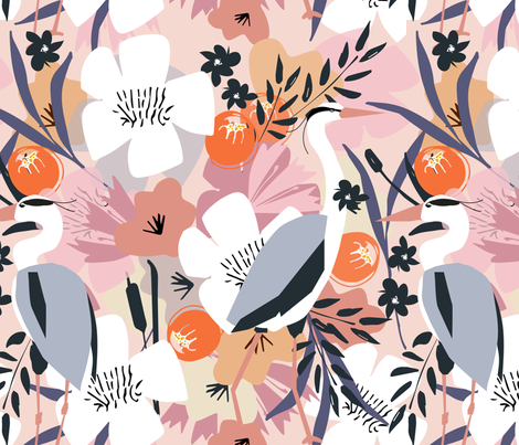 Feather and flower heron fabric by michellemanolov on Spoonflower - custom fabric