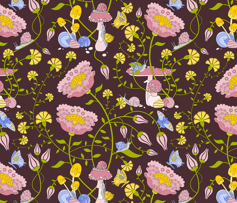 Snails in the Garden: Dark fabric by thimblefolio on Spoonflower - custom fabric
