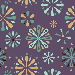 Folklore Flowers Pysanky inspired on purple.
