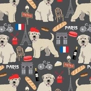 irish wheaten paris dog fabric - soft coated wheaten terrier fabric, dog fabric, dogs in paris fabric, french fabric - pet dog fabric -  charcoal