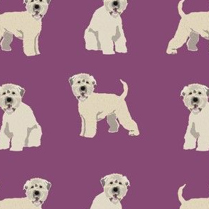 irish wheaten terrier dog fabric - soft coated wheaten terrier fabric, dog fabric, dogs fabric, dog breed fabric, cute dog fabric -  purple