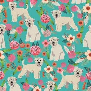 irish wheaten dog floral fabric - irish wheaten terrier fabric, soft coated wheaten terrier, dog florals, floral fabric, dog design - teal