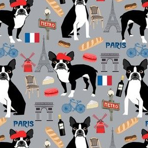 boston terrier in paris fabric - french fabric, dog fabric, paris fabric, dogs fabric, dog design, boston terriers -  grey