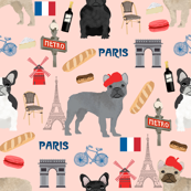 french bulldog in paris fabric - frenchie fabric, paris fabric, france fabric, dog fabric, dogs fabric, cute pet -  blush